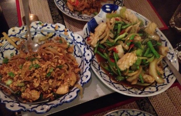 Chiang Mai: more Pad Thai (left) Plamuk pad krapau (right)