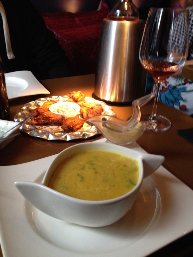 Surya: lentil soup and chicken wings. Love the bird shaped lemon squeezer!!