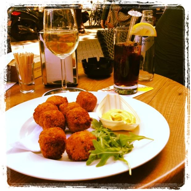 Bitterballen at Cafe del Mondo, Amsterdam