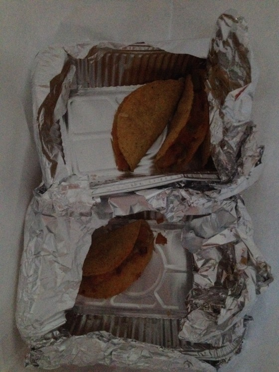 Sad-looking leftover tacos...