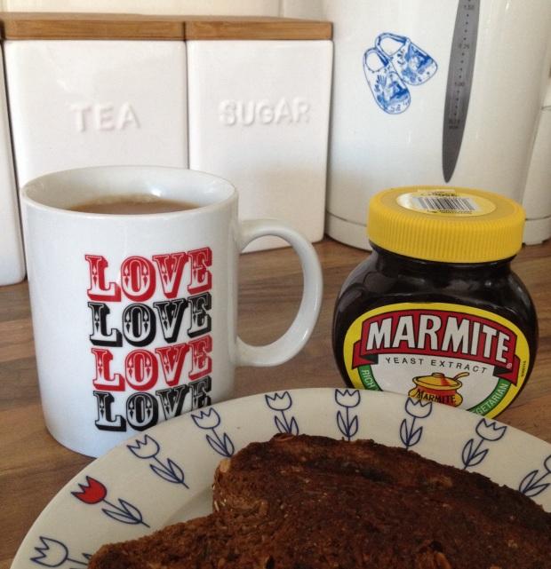 Proper English tea and toast... with marmite!