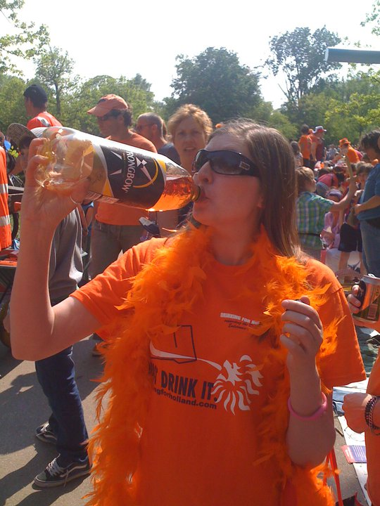 Drinking cider on Queens Day
