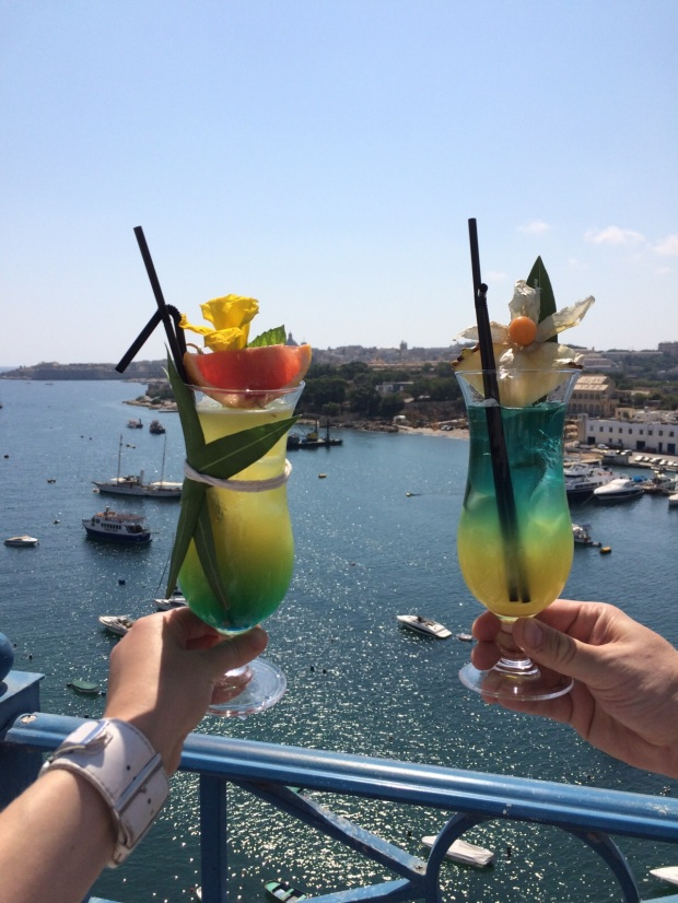 Cocktails at the Waterfront Hotel, Malta