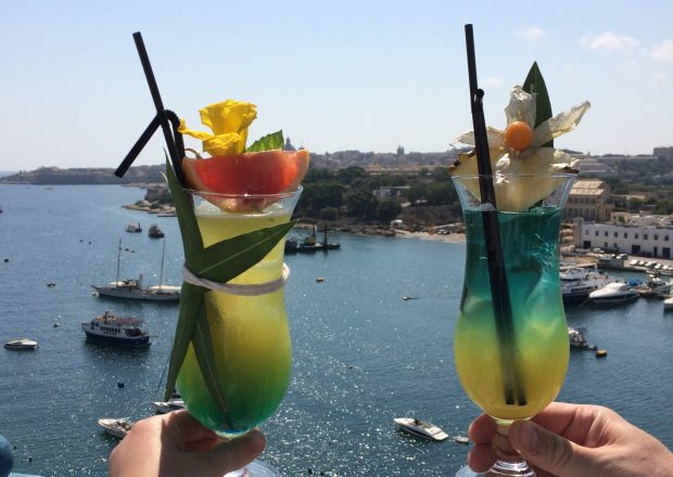 Cocktails at the Waterfront Hotel, Sliema, Malta